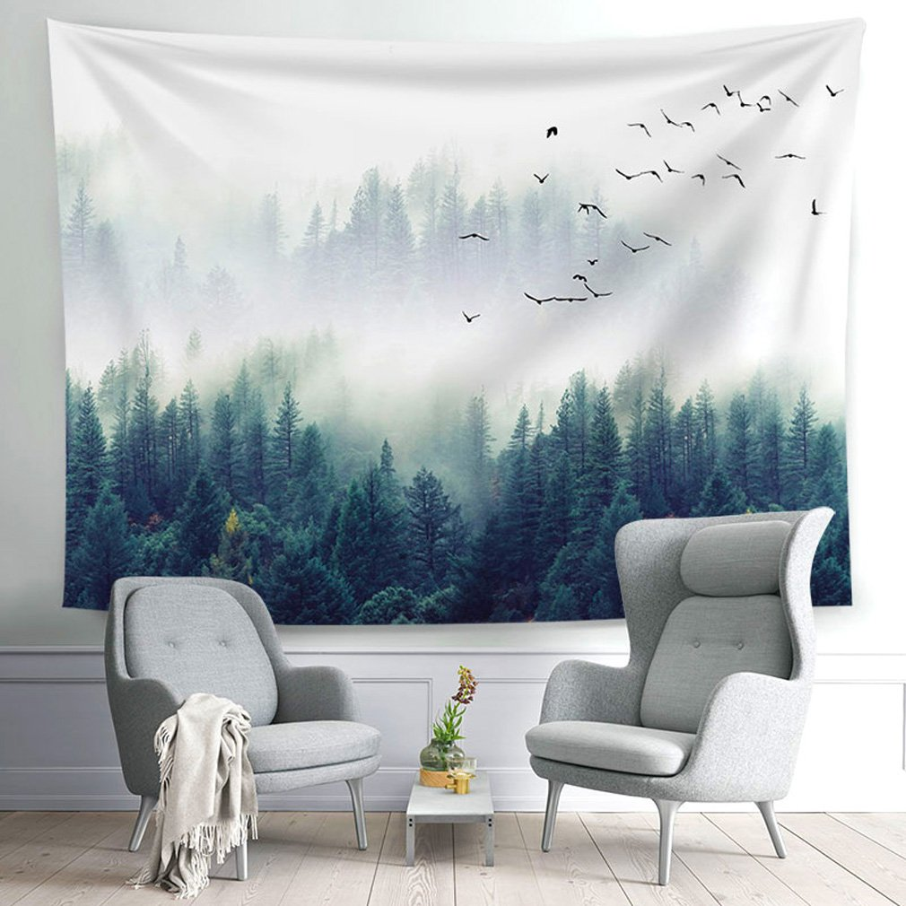 All Smiles Nature Mountains Tapestry Tree Forestry Scenery Wall Art for Dorm Bedroom Living Room Home Decor 59X51