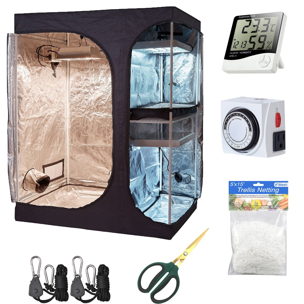 Hydro Plus Grow Tent Kit 60''x48''x80'' 2-in-1 Indoor Plants Growing Dark Room Non Toxic Hut + Hydroponics Growing Setup Accessories (60''x48''x80'' Kit)