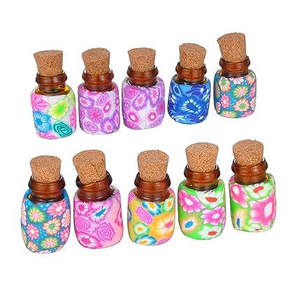 Housweety 10 piezas Mixd Color Mini botellas de vidrio viales con tapón de corcho para mensaje