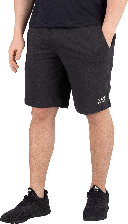 EA7 Hombre Logo Sweatshorts, Negro