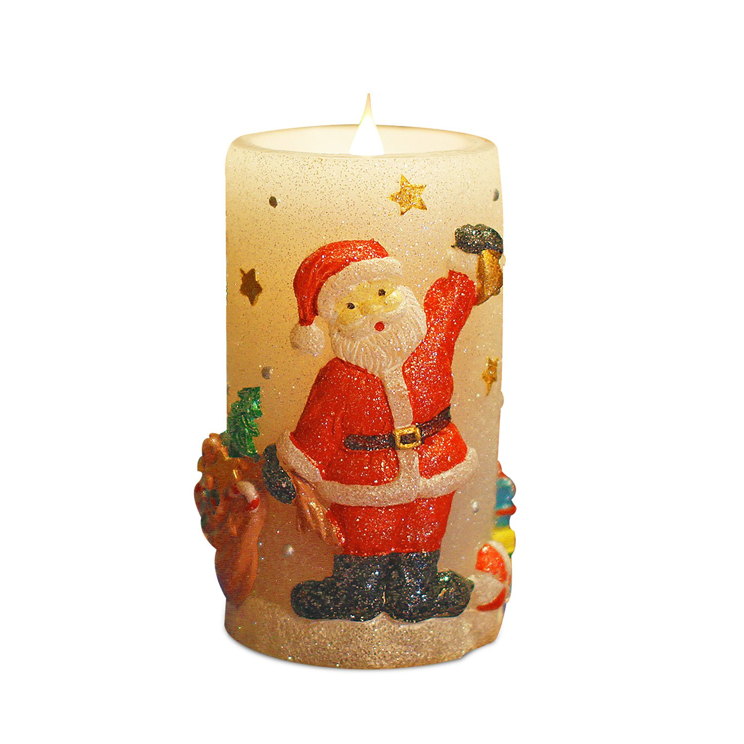 Christmas Santa Moving Flame LED Candle with Timer, 3 x 6