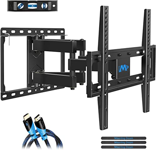 Mounting Dream TV Mount Full Motion for Most 26-55 Inch Flat Screen TVs, TV Wall Mount Bracket with Articulating Dual Arms Bear Up to VESA 400x400mm and 99 lbs – Tilt, Swivel and Rotation