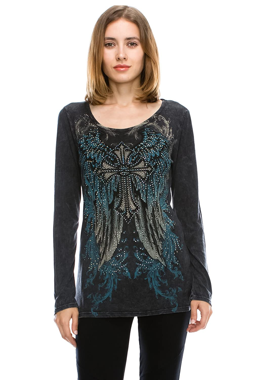 Ladies Long Sleeve Round Neck Print & Stone Detailed Black Top