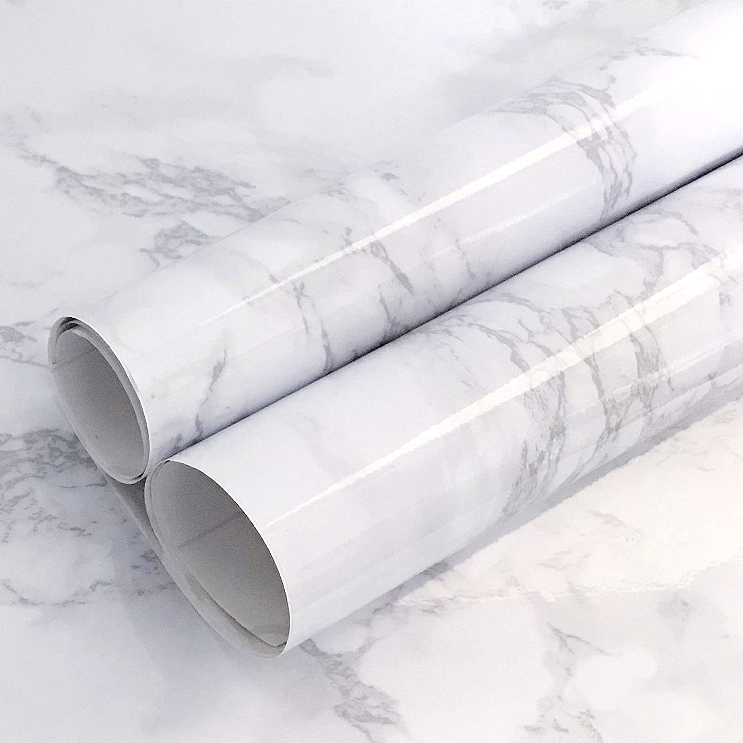 Abyssaly White//Gray Marble Paper Thicken Waterproof Self-Adhesive Wallpaper f...