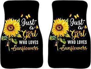 WELLFLYHOM Girl Love Sunflower Car Floor Mats Set of 2 Black, Interior Decor Rubber Backing Durable Soft Protector Foot Carpets Front Universal Fit Most Auto, Sedan SUV Accessories