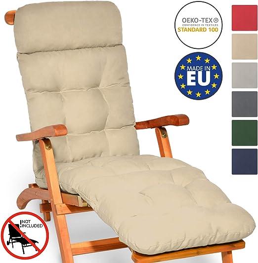 Beautissu cojín colchón para Tumbona Flair DC - 200x50x8 cm con Relleno de gomaespuma - Apto para amacas y sillas de jardín o terraza - Natural: Amazon.es: Jardín