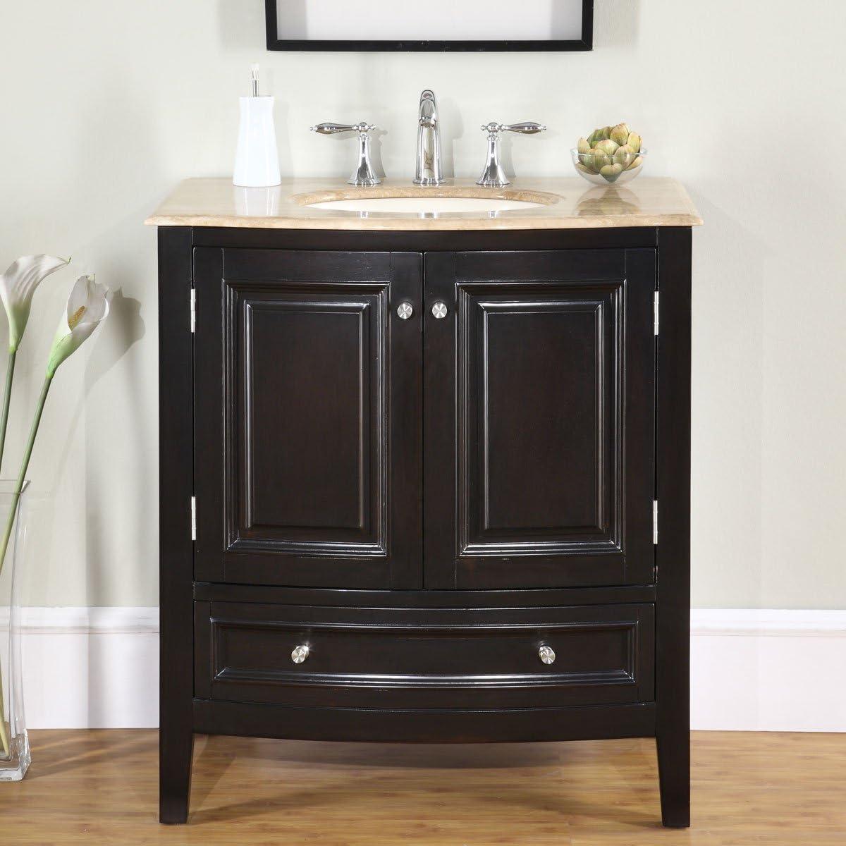 Silkroad Exclusive HYP-0709-T-UIC-32 Travertine Stone Top Single Sink Bathroom Vanity with Furniture Cabinet, 32 , Dark Wood