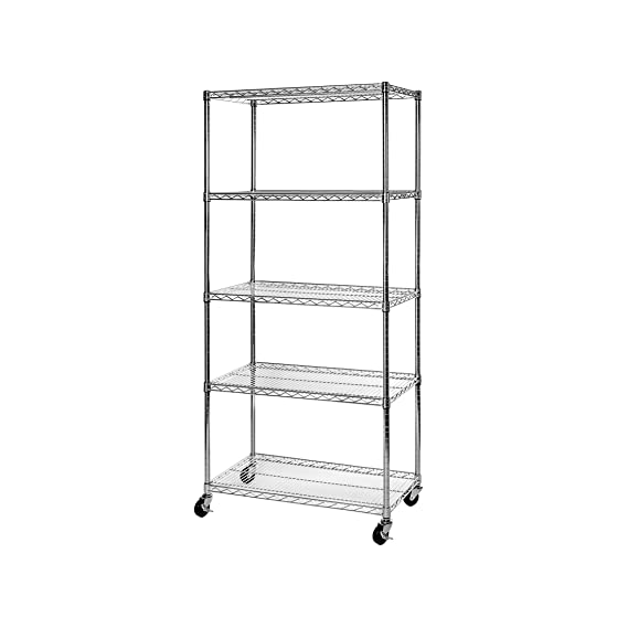 Seville Classics UltraDurable Commercial-Grade 5-Tier NSF-Certified Steel Wire Shelving with Wheels 36