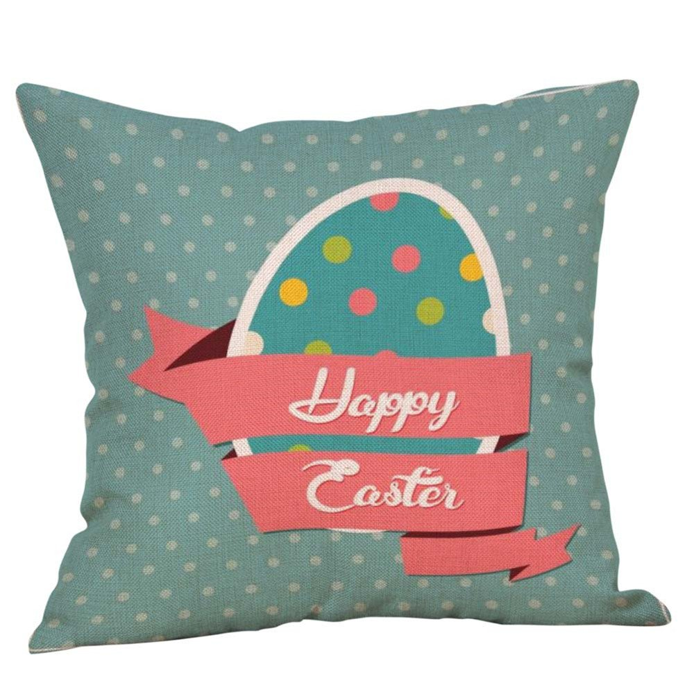 Reooly Happy Easter Funda de Almohada Sofá de Lino Juego de ...