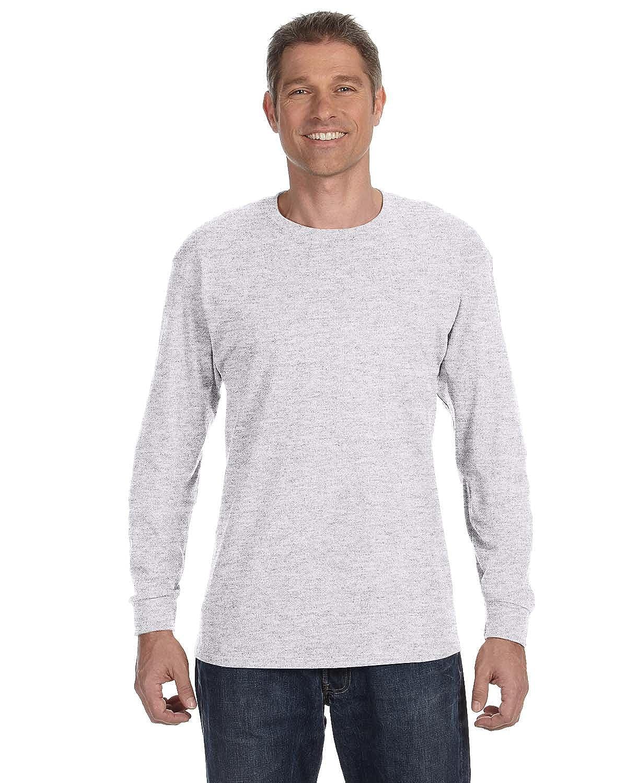 b57be9deb06 Hanes mens 6.1 oz. Tagless ComfortSoft Long-Sleeve T-Shirt(5586)-ASH ...