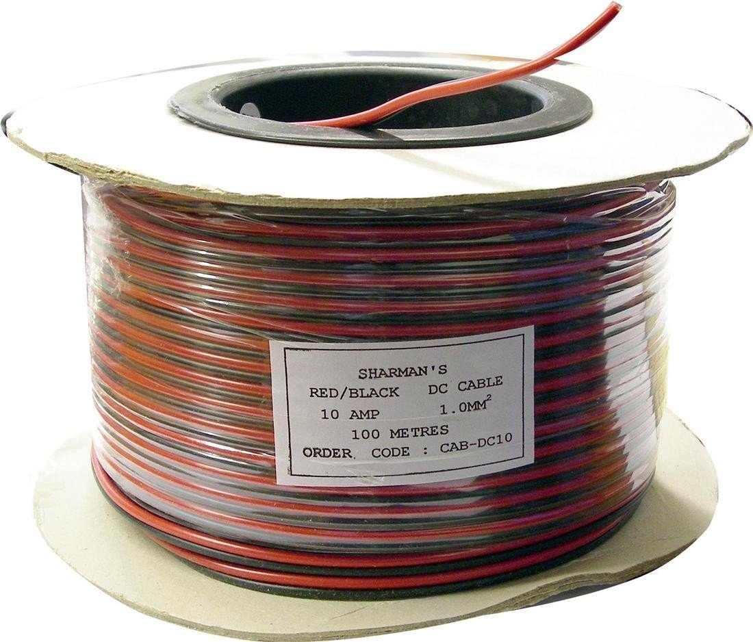 10a 12v Black Red Dc Power Cable 100m Reel Electronics Wiring Supplies Uk