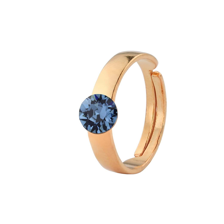 e537909cd ARLIZI ring blue Swarovski crystal 6mm silver rose gold plated 1477:  Amazon.co.uk: Jewellery