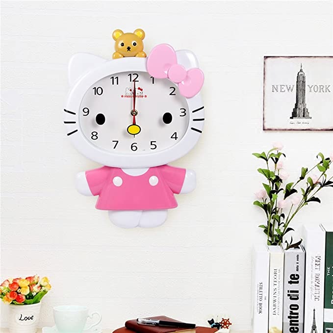 Amazon.com: Cute Cartoon Hello Kitty Anime Children Clock KT Cat Sham Mute Creative Wall Clock (Pink): Home & Kitchen