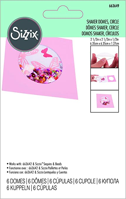 """Sizzix 8 Shaker Domes Circle 2.5/"""" x 2.5/"""" x 1//2/"""" Works w//Sequins /& Beads 663649"""