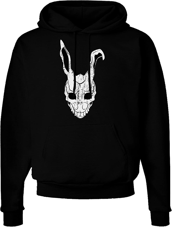 TooLoud Scary Bunny Face White Distressed Dark Hoodie Sweatshirt