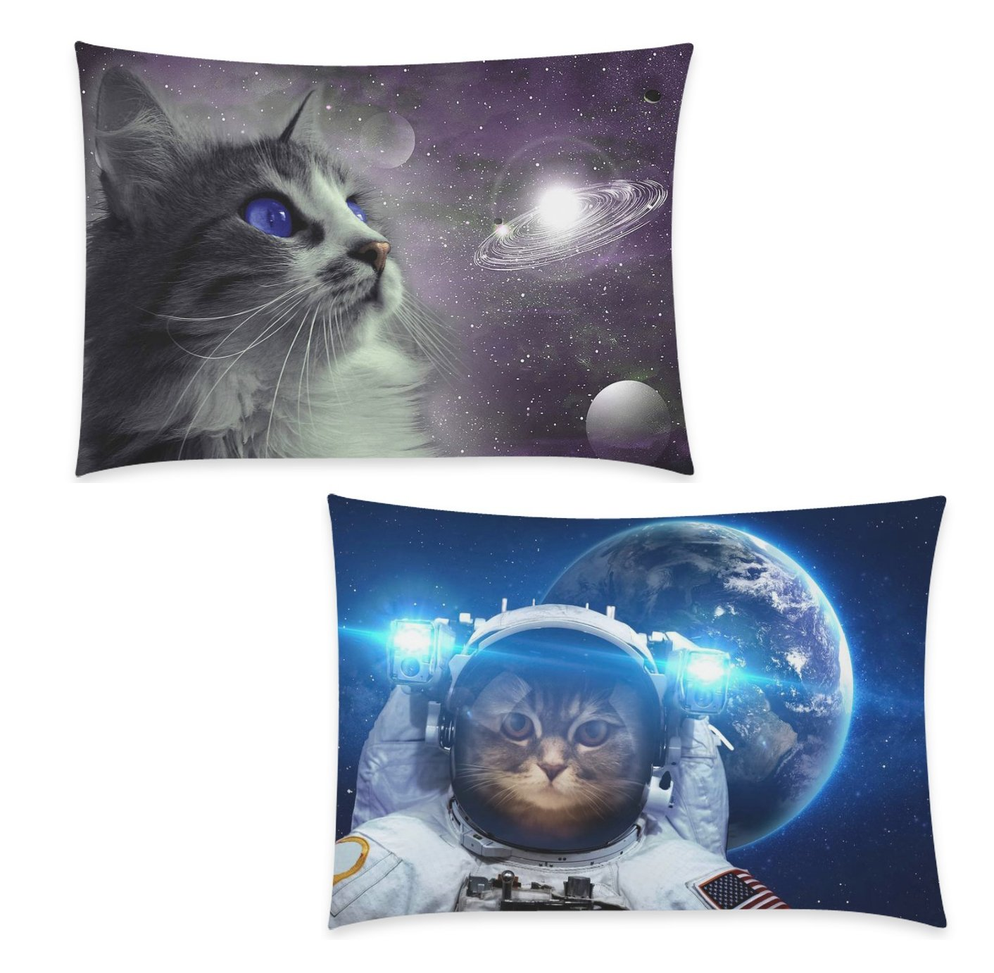 InterestPrint 2 Pack Hipster Space Cat Pillow Case Cover 20x30 One Side, Animal Zippered Pillowcase Set Decoration