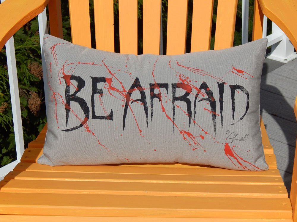 Halloween Indoor Outdoor Throw Pillow Handcrafted Painted 12 X20 Spooky Porch Pillow Handmade In The Usa By Crabby Chris Handmade