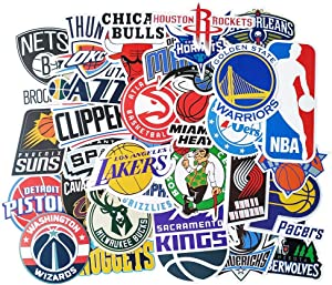 NBA Stickers 31 Pcs, Vinyl Waterproof Sport Fan Decals of National Basketball Association All Teem Logo for Laptop Water Bottle Hydroflasks Bicycle Motorcycle Car Bumper Room Wall Decoration