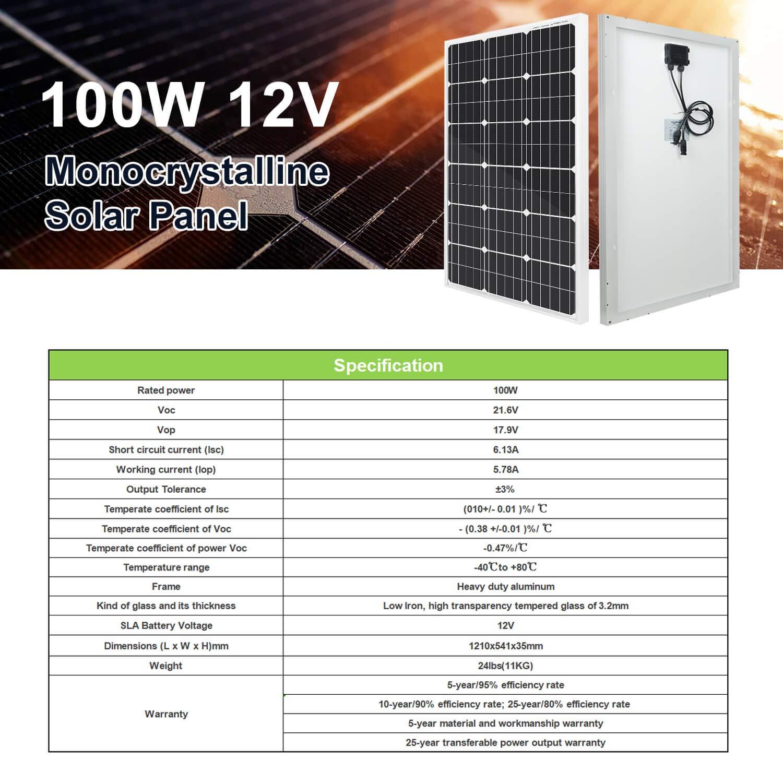bateau ECO-WORTHY Panneau solaire 12 V 100 W Module photovolta/ïque pour recharger la batterie de 12 V dans la caravane yacht camping-car