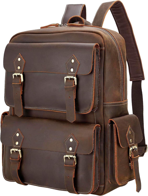 Polare Full Grain Leather Vintage Laptop Backpack College School Computer Bag Fits 15.6'' Laptop