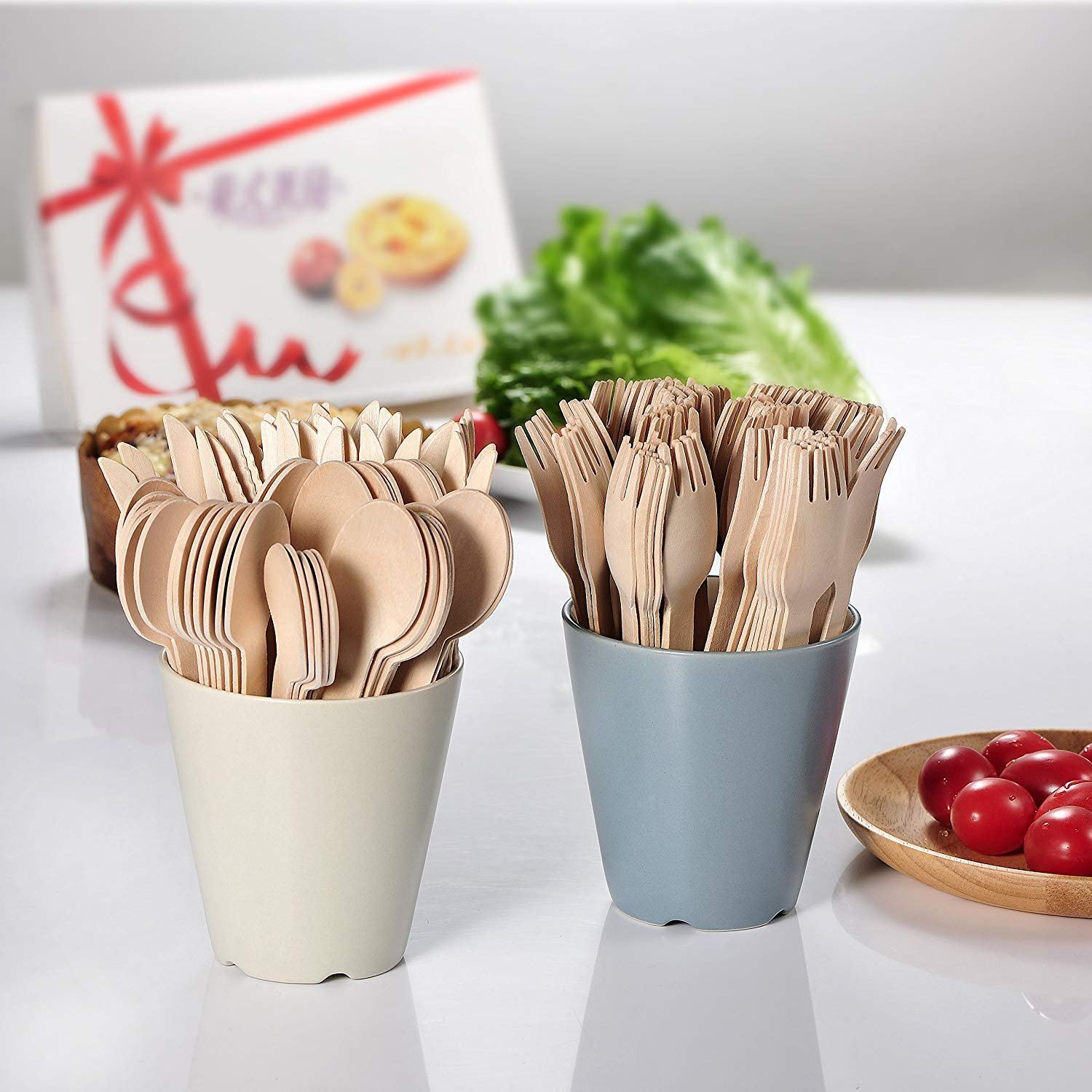Wood set cutlery biodegradable-disposable-eco friendly-100 wooden forks-100 knives-100 spoons-For Parties, Picnics, Events & Weddings – Durable & Environmentally Safe by OFO WOOD (Image #4)