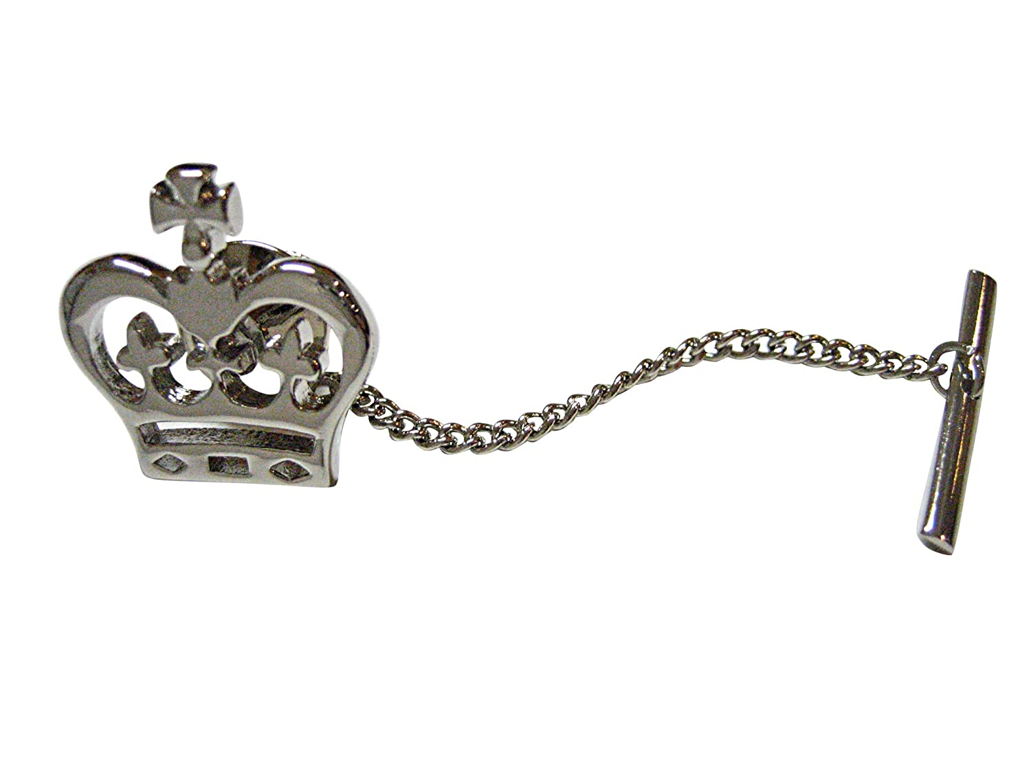 Silver Toned Round Crown Tie Tack