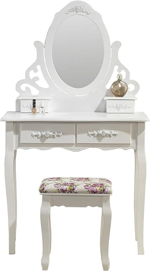 Magnifique tocador Espejo y Asiento Mesa de Maquillaje Blanco ...