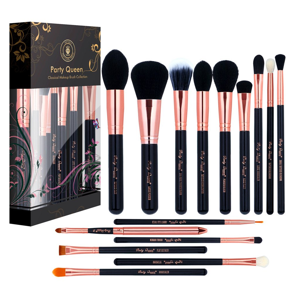 Makeup Brushes Set Party Queen 15 Pieces Professional Luxury Rose Golden Synthetic Wool Beauty Makeup Brush Tool Foundation Blending Concealer Eye Face Liquid Powder Cream Cosmetics Brush Kit