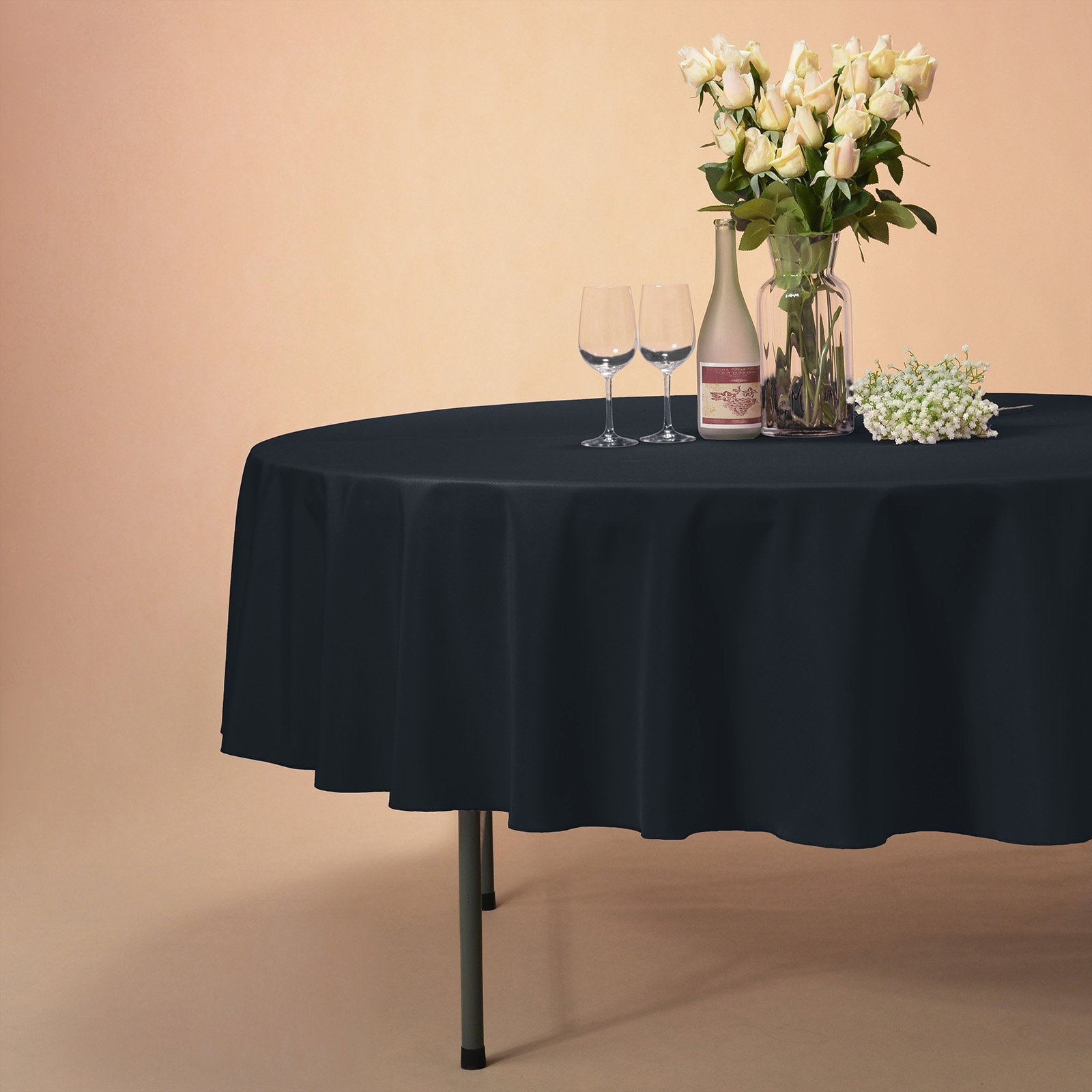 VEEYOO Tablecloth 90 inch Round Solid Polyester Table Cloth for Wedding Restaurant Party Kitchen Dining Table Christmas, Navy by VEEYOO (Image #4)