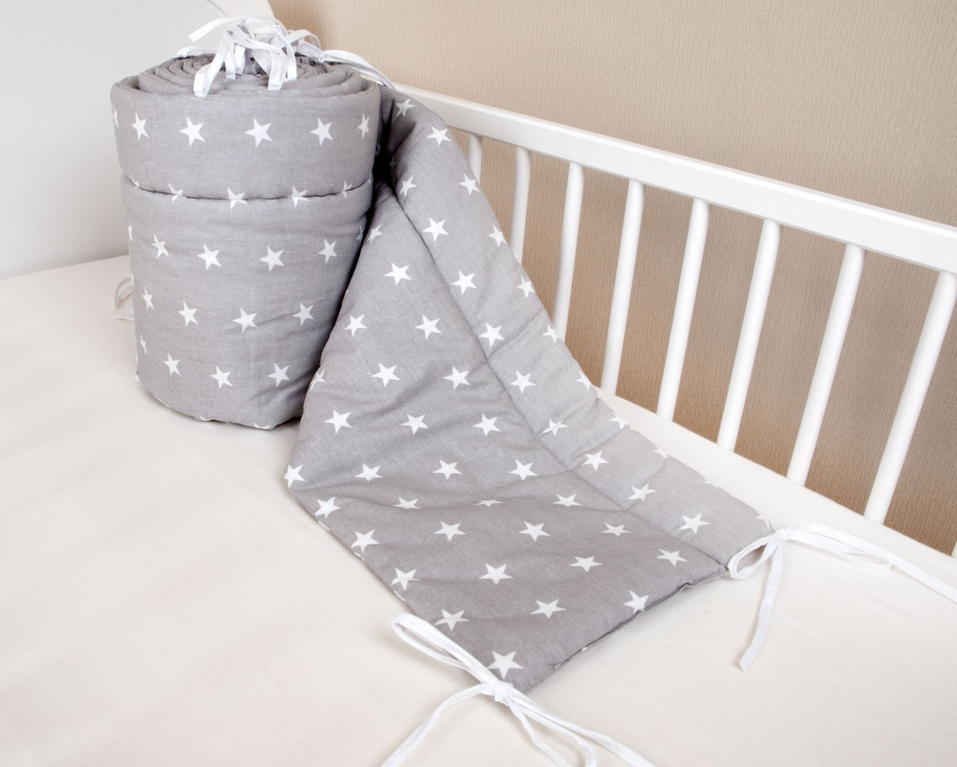 Amilian® Baby Cot Bumper Wrap Around Protection For Baby's Bed With Head Guard 100% hypo-Allergenic 100% Cotton Breathable and non-toxic materials Anti-allergic Star Print Grey Available In 3 Sizes (420 cm x 30 cm) (360 cm 30 cm) (180 cm x 30 cm)