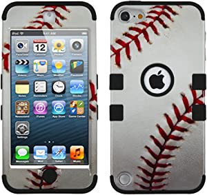 MYTURTLE iPod Touch 7th 6th 5th Generation Case Shockproof Hybrid Hard Silicone Shell Impact Cover with Screen Protector for iPod Touch 7 (2019), iPod Touch 5/6 (2015), Ball Sports Baseball