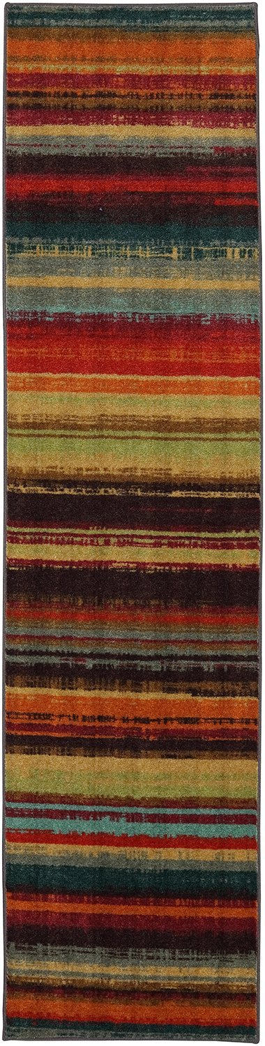 Mohawk Home 11672 416 024060 New Wave Boho Striped Printed Area Rug, 2'x5', Multi