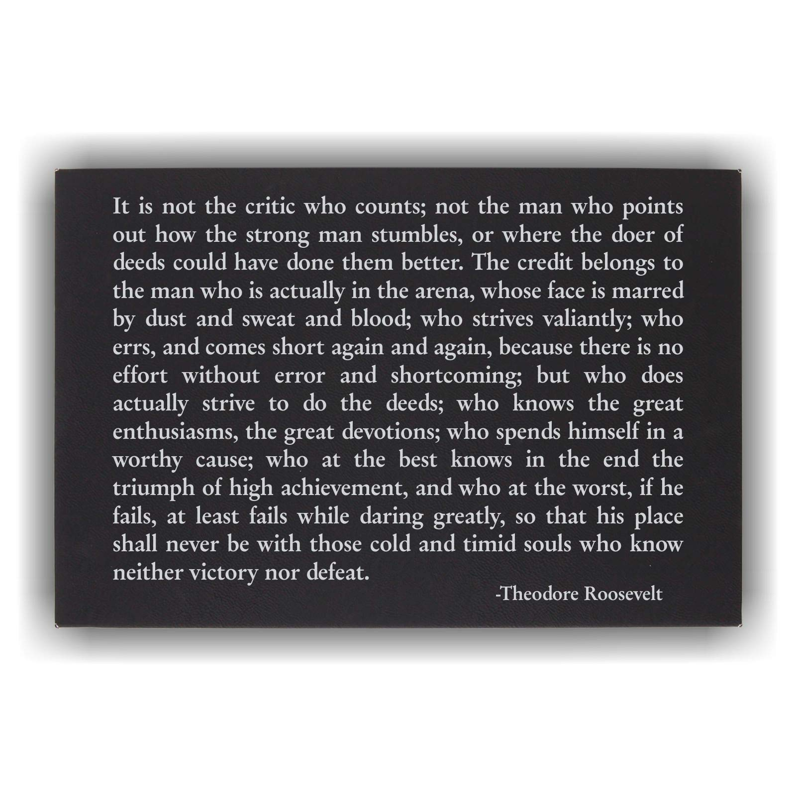 Theodore Roosevet Man in the Arena Wall Art Plaque Inspirational Quote Black & Silver