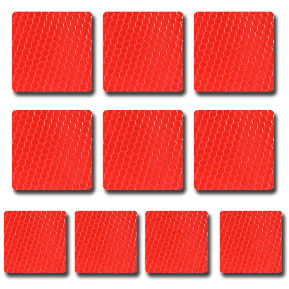 10PCS Autocollant Ruban R/éfl/échissant Rouge 60 x 60mm Haute Intensit/é Universal B/éb/é Colthes Paroi Casque Planchers Bandes De S/écurit/é