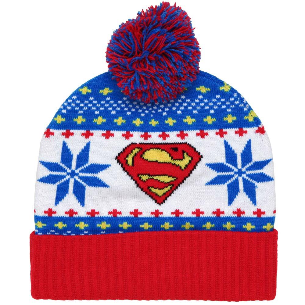 Galleon - DC Comics Superman Adult Cuff Pom Beanie Hat 6fc6bc489dc