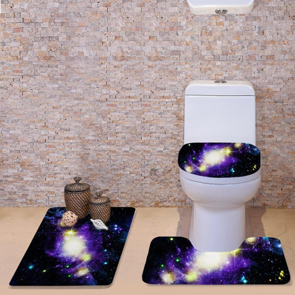 Bunte Sterne Badezimmer Badezimmer Badezimmer Rutschfeste Blau Ozean Stil Sockel Teppich + Deckel Toilet Cover + Badematte [3 Teile Satz], B B078TXT1NC Duschmatten 0bd71f