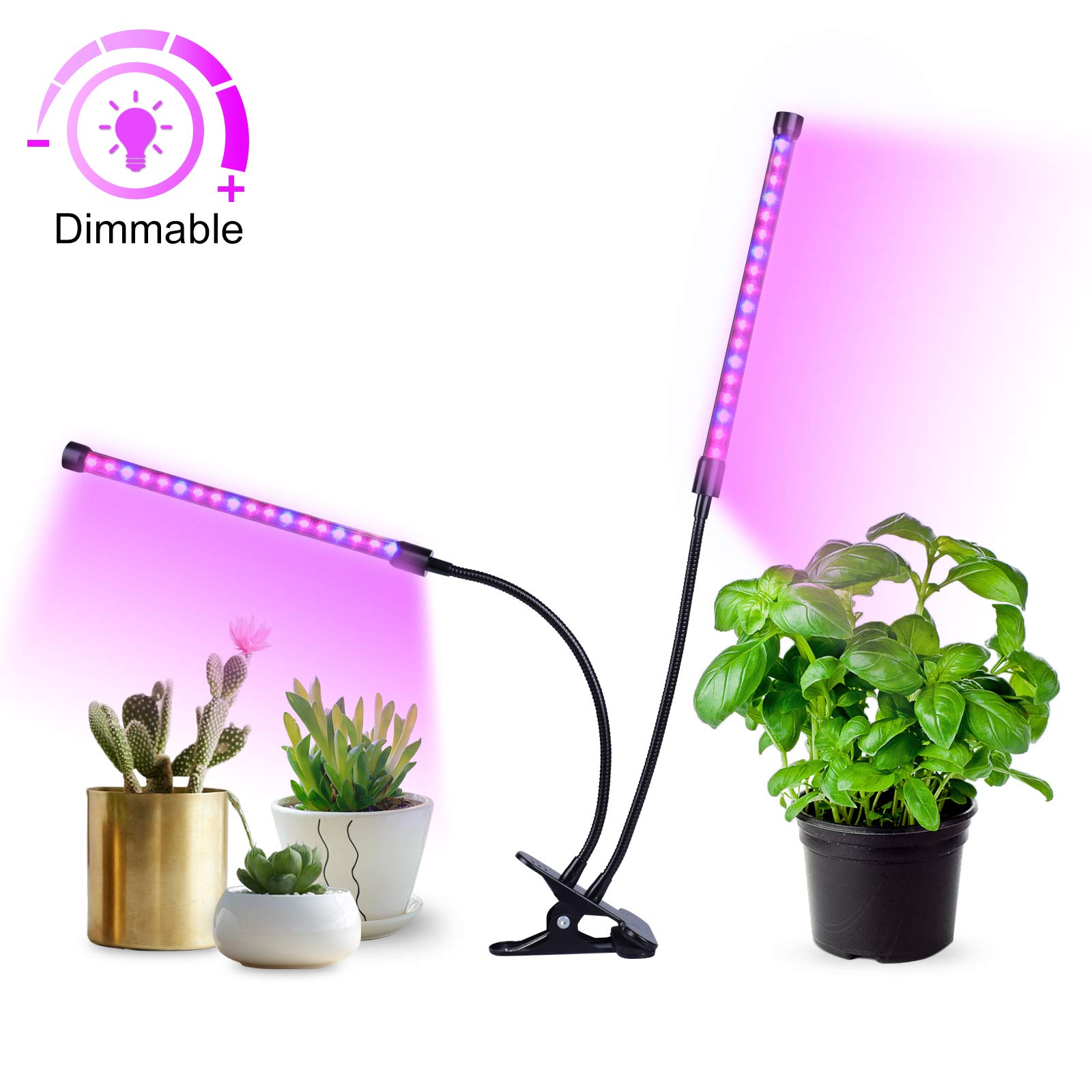 MIXC LED Grow Lamp Light, 18W USB Dimmable Indoor Plant Growing Light with 5-Level Brightness 3/6/12H Timer Adjustable 360 Degree Gooseneck for Seedling Tray Succulent Gardening Plants