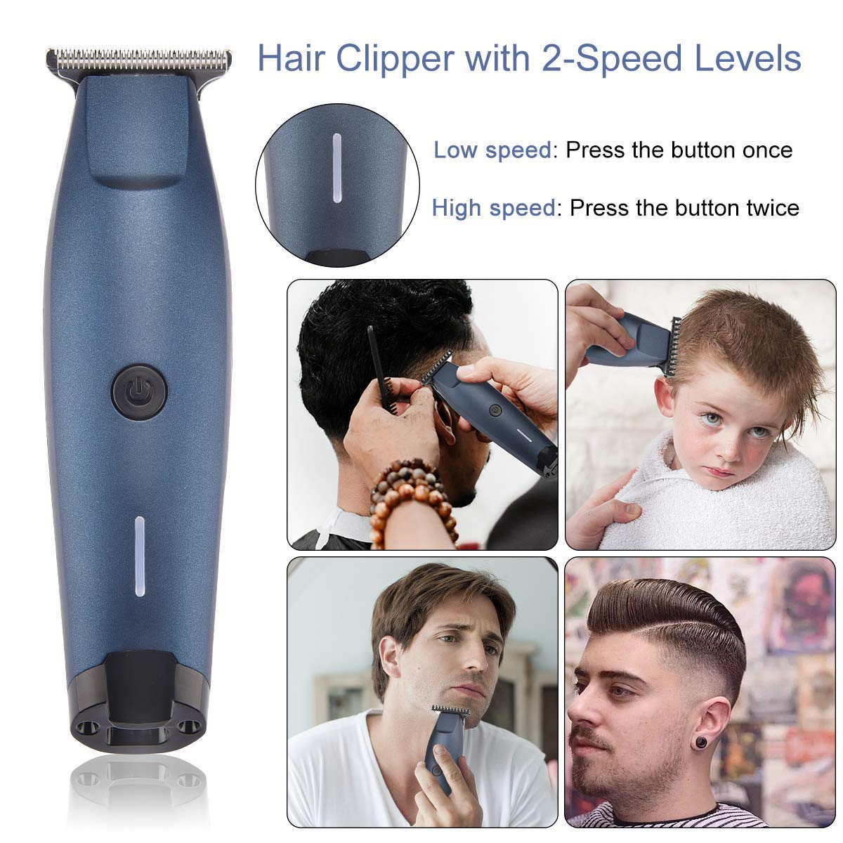 Professional Hair Clipper, HONGNAL Cordless Pro Hair Cutting Kit Rechargeable Beard Trimmer Clippers with 2 Speeds 3 Guide Combs for Face/Body Hair Groomer for Men/Women