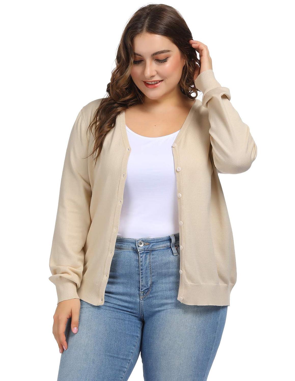 Hanna Nikole Women Plus Size V-Neck Button Down Soft Knit Cardigan Sweater  at Amazon Women s Clothing store  02bd55892
