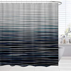 BROSHAN Modern Decor Shower Curtain Fabric, Creative Ombre Abstract Striped Pattern Bath Shower Curtain, Blue Black Waterproof Bathroom Set with Hooks,72 x 72 Inch