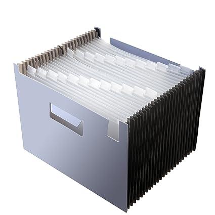 Carpeta expandible con 24 bolsillos, organizador de archivos de acordeón, gran capacidad, bolsa