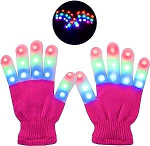 Yostyle Children LED Finger Light Up Gloves,Small 3 Colors 6 Modes Flashing LED Warm Gloves Colorful Glow Flashing Novelty Toys for Kids Boys Girls (Pink)