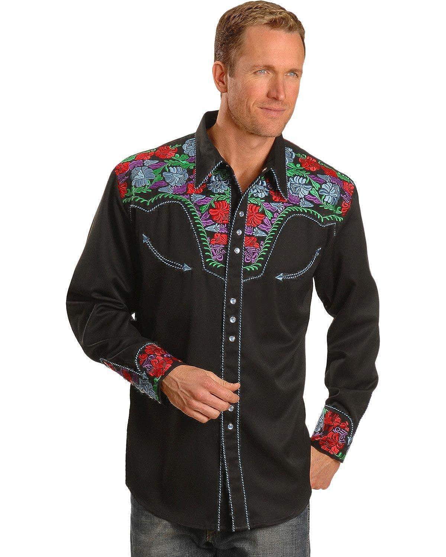 46dd9cbf Top10: Scully Men\'s Vibrant Floral Embroidered Retro Western Shirt -  P-634C Blue
