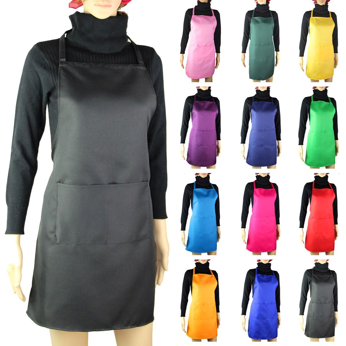 RayLineDo Plain Unisex Cook Cooking Catering Work Professional Chefs Waiters Apron Tabard with Twin Double Pocket