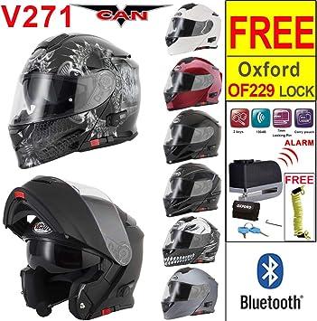 FLIP UP FRONT MOTORCYCLE HELMET VCAN V271 BLINC BLUETOOTH New 2020 Motorbike Moped Crash Sports Touring Full Face Modular Helmet GLOSS BLACK With Dark Visor