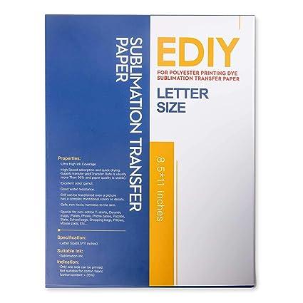 EDIY - Hojas de transferencia de calor de papel de sublimación (2 ...