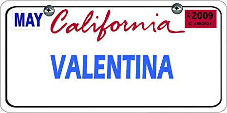 Matricula Decorativa Personalizada Con tu Nombre 30,00 cm x 15,00 cm California