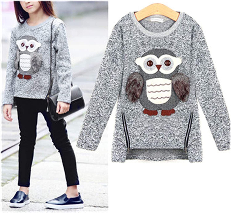 Kids Sweatshirt Girls Pullover for Winter Autumn Cute Owl Warm Fleece Lined with Zipper