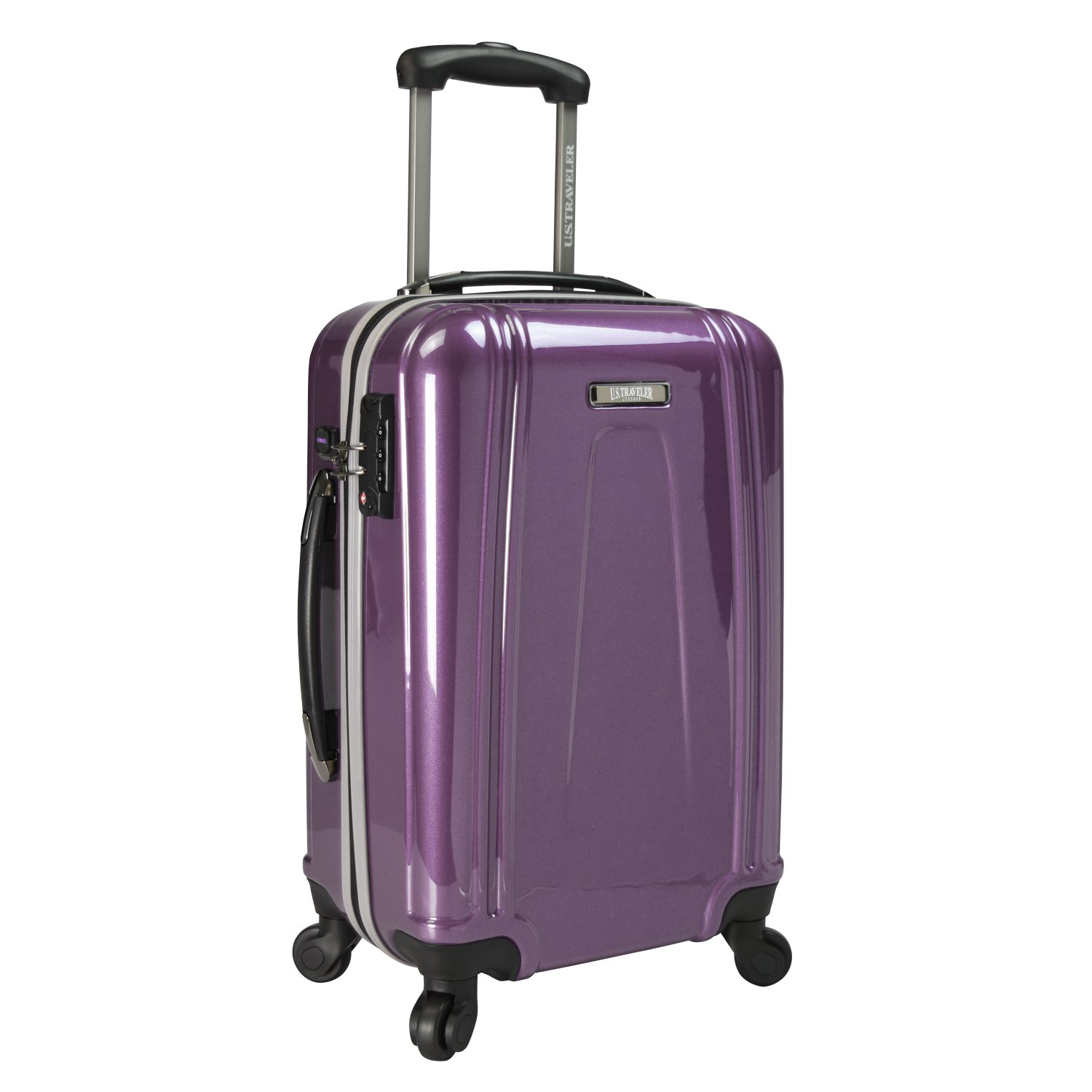 U.S. Traveler 22 Inch USB Port Ez-Charge Carry-on Spinner Suitcase, Navy, One Size TRB3I US09037N22