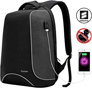 iCozzier 15.6 Inch Laptop Backpack with USB Charging Port, Multi-Space Lightweight Reflective Stripe Travel Bags,Outdoor,School Rucksack for Women Men - Dark Gray
